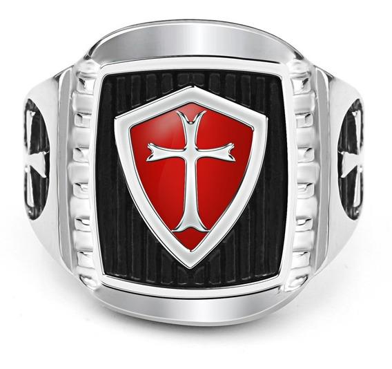 Anel Aço 316l Maçom Mestre Ordem Dos Cavaleiros Templários
