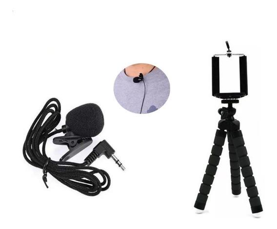 Kit Microfone De Lapela Celular Pc Videos Youtube + Mini Tripe