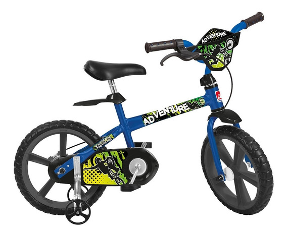 Bicicleta Infantil Aro 14 Bandeirante 3011 Adventure Azul E