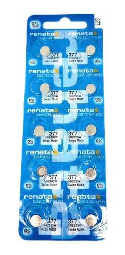 Pila 377 Sr626sw Renata Suiza 1.55 Voltios 0% Hg Pack X 10