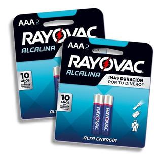 Pilas Alcalinas Aaa Rayovac Pack 4 Pilas De Alta Energia