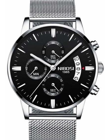 Relógio Nibosi 2309 Prata E Preto Casual De Luxo Original
