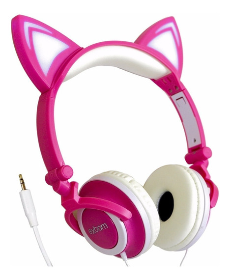 Fone Ouvido Orelha De Gato Exbom Led P2 Headphone Universal