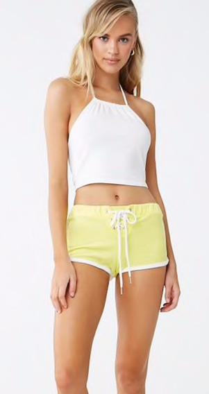 Mini Shorts Forever 21 Amarillos De Toalla Con Agujeta