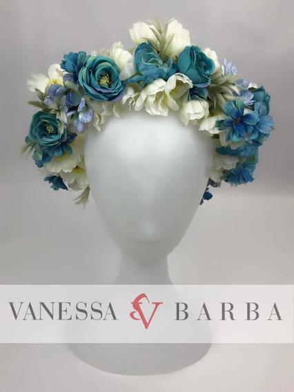 Corona Flores Azul Vintage Hadas Boda Baby Shower Catrina