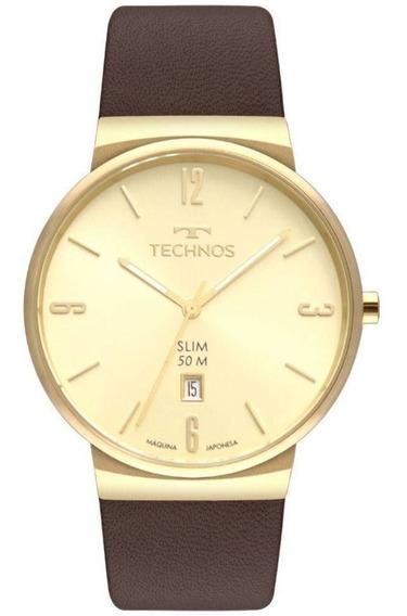 Relógio Technos Masculino Slim Dourado Gm10yo/2x