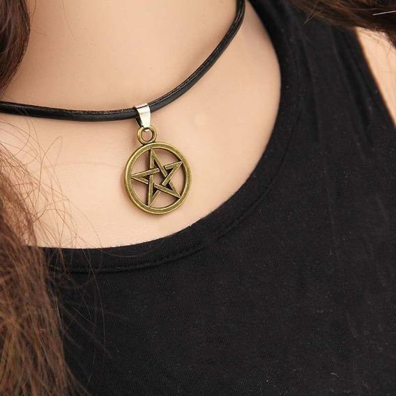 Colar Gargantilha Pentagrama Supernatural Frete Fixo R$10