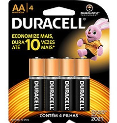 Kit C/ 4 Pilha Zinco Duracell C/4 Aa Pequena Sm Unit