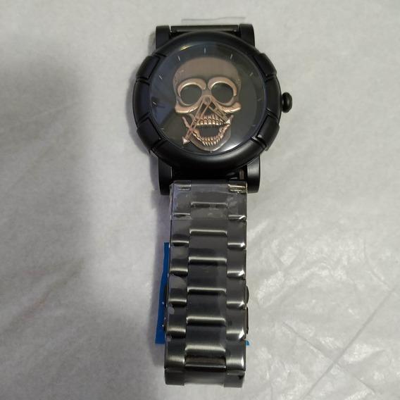 Relógio Masculino Barato Ferro Analógico Preto Caveira