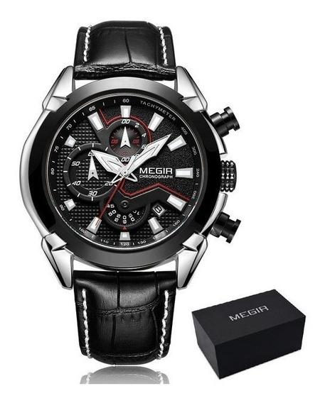 Relógio Masculino Megir Original Luxo Com Cronógrafo Preto