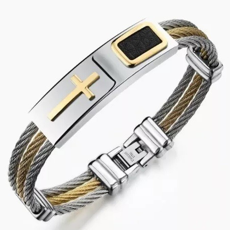 Pulseira Masculina Bracelete Prata Inox Fio Folheada Ouro