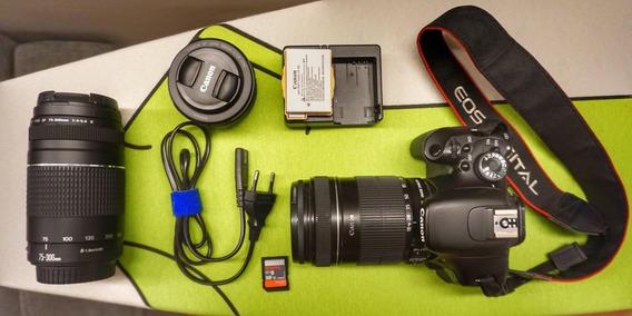 Canon T3i (600d) + 3 Lentes + Sd Card + Case