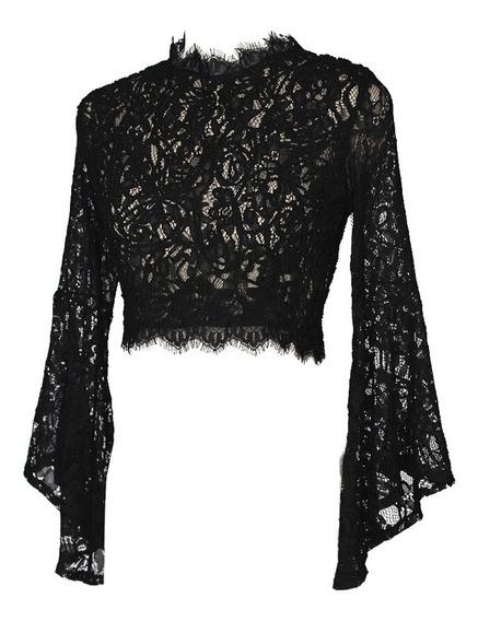 Mujeres Crop Top Sheer Crochet Lace Cuello Alto Long Flare