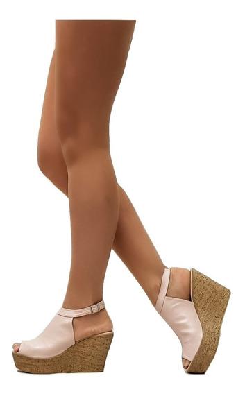 Zapatos Punta Abierta Pulsera Taco Chino Mujer Charol Art104