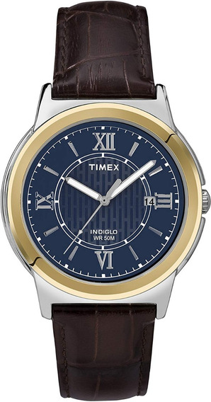 Timex Hombre T2p5219j Bank Street Reloj Correa De Piel 38mm