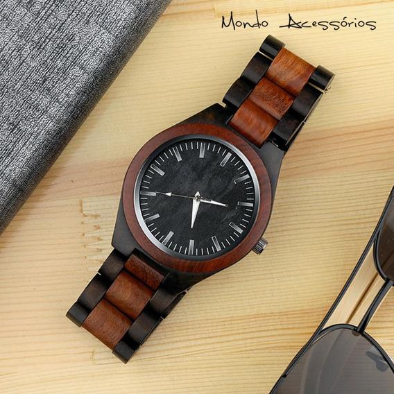 Relógio De Pulso Masculino Bambu Pulseira Madeira Original