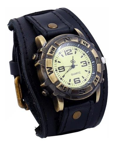 Relógio Masculino Feminino Analógico Bracelete Couro Vintage