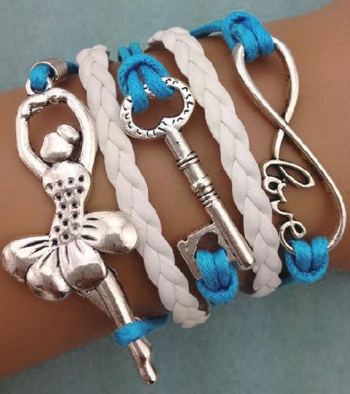 Pulseira Bracelete Couro Bailarina - Azul E Branco