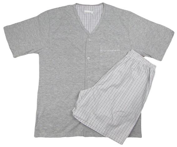 Pijama Masculino Com Bolso E Botão Algodão