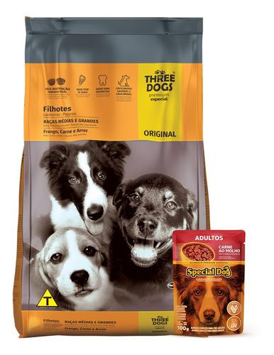 Imagen 1 de 3 de Comida Cachorro Threedog Original Raza Mediana Y Grande 3kg