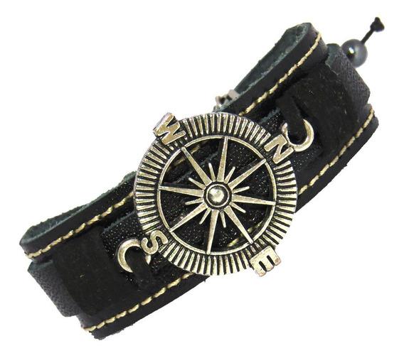 Pulseira Bracelete Masculina Em Couro Rosa Dos Ventos P