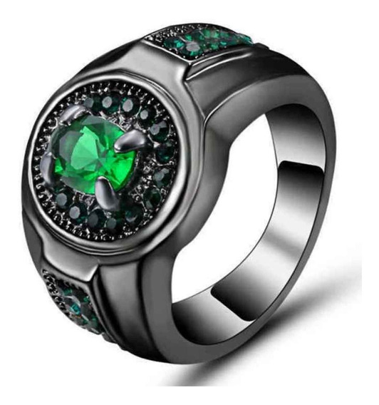 Anel Masculino Formatura Titânio Esmeralda Verde 138