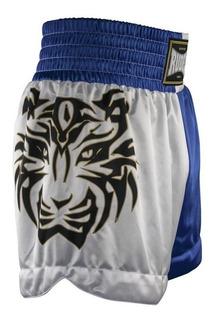 Short Muay Thai Rudel Lumpi Azul Branco