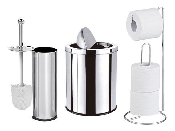 Lixeira Inox 8l Basculante + Escova + Porta Papel Higiênico