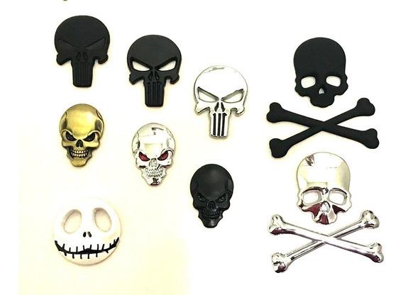 Adesivo Skull Caveira 3d Emblema Carro Moto Harley Iron