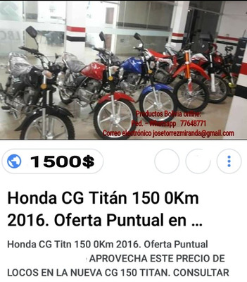 Honda Japoneza Cg 150cc.. Titanic Modelo 2018