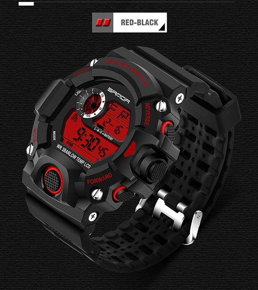 Relol Digital Marca Sanda Tipo Militar Rojo