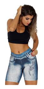 Bermuda Legging Estampa Jeans Fitness Musculação Academia