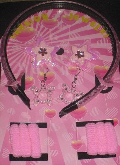 Kit Infantil Tiara Brinco Elástico De Cabelo Rosa