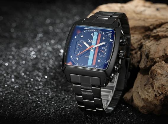 Relógio Automático Jaragar Caixa Quadrada Preto + Promoção