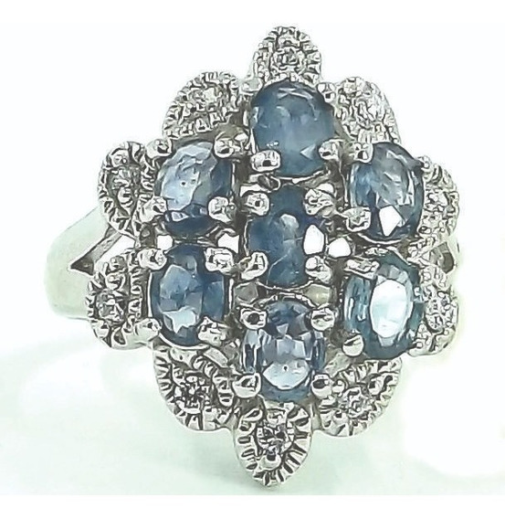 Anel De Prata 925 Banhada Em Ródio Com Safira Azul Genuína