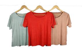 Kit 3 Blusinhas T-shirts Sued Outrono-inverno Lançamento