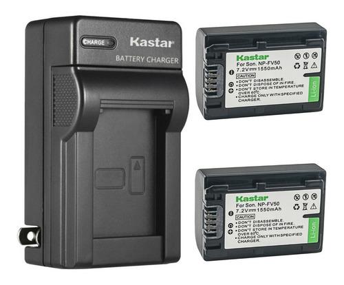 Imagen 1 de 1 de Cargador + 2 Baterías Sony Np-fv50 Fv30 Sr15 Ax100 Kastar