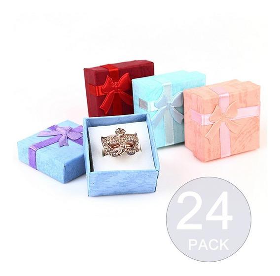 Pack 24 Cajas Carton Joyas Anillos Aros 4x4cm Regalo Joyeria
