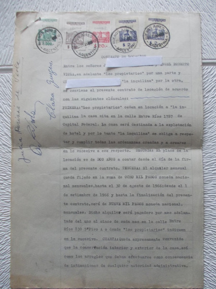2591- Contrato Locacion 1965 Bs. As., Estampillas
