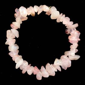 Pulseira Cascalho Pedra Cristal Natural Quartzo Rosa 914