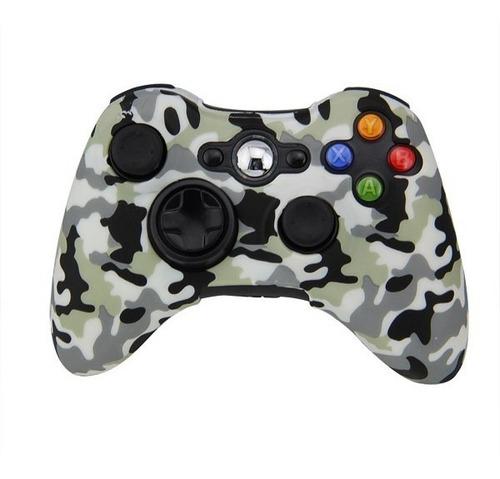 Funda Protector Silicona Joystick Xbox 360 Camuflado Gris