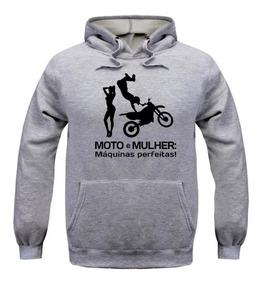 Moletom Blusa De Frio Moto - Mulher Com Capuz