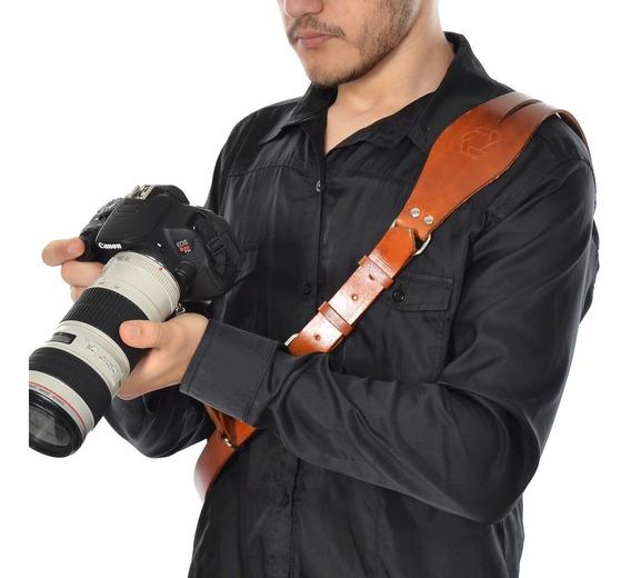 Alça Lateral Em Couro Photopro Câmera Dslr Engate Rapid
