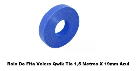Fita Velcro Qwik Tie 1,50 Metros X 19mm Azul