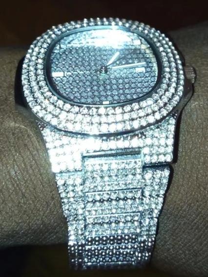 Relógio Prata Cravejado Mini Zirconias Moda Hip Hop
