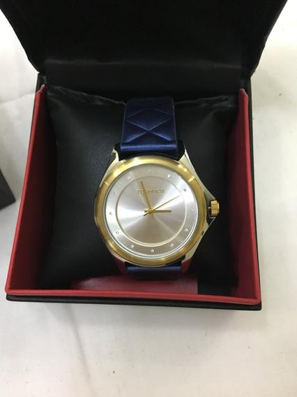 Relógio De Pulso Technos 2035lyu Dourado E Azul Feminino