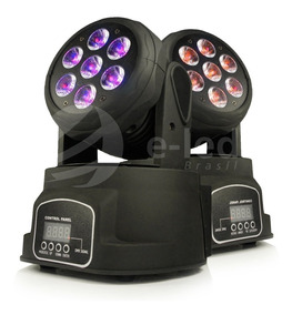 Kit 2 Moving Wash Head 7 Leds Cree De 12w Rgbw + Mesa Dmx