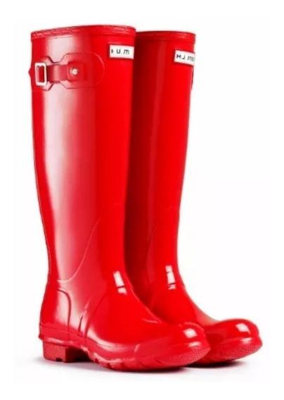 Botas De Lluvia Mujer Gummi Roja Caña Alta