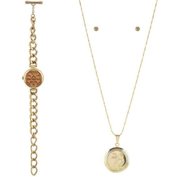 Kit Relógio Feminino Allora Analógico Al2035exw/k4t -dourado