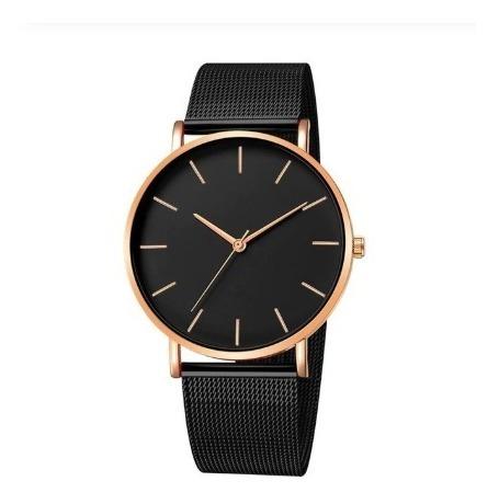 Relógio Feminin Masc Pulseira Malha Aço Clássico Preto Rosé